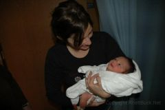 Aunt Paula holding Hailey for the first time.