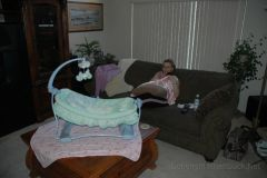 Mommy resting with Hailey