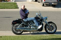 Daddy and Haliey on the V-Rod